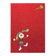 Handgewebter Teppich Rainbow Rabbit in Rot