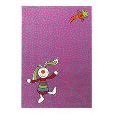 Handgewebter Teppich Rainbow Rabbit in Rosa