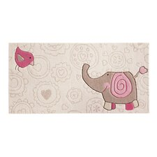 Handgefertigter Kinderteppich Happy Zoo Elephant in Beige/ Rosa