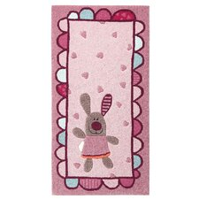 Handgefertigter Kinderteppich 3 Happy Friends Hearts in Pink/ Rosa