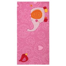Handgefertigter Kinderteppich Happy Zoo Elephant in Pink/ Rosa