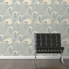 "Waves of Chic Removable 10' x 20"" Abstract Wallpaper"