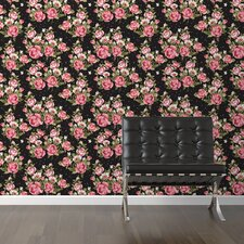 """Roses on Black Removable 10' x 20"""" Floral Wallpaper"""