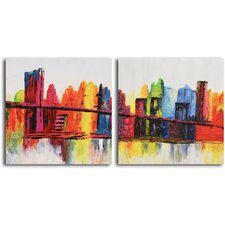 'Psychedelic City' 2 Piece Original Painting on Canvas Set