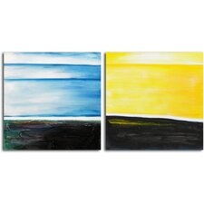 'From Dusk til Dawn' 2 Piece Original Painting on Wrapped Canvas Set