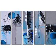 """Moon"" 5 Piece Original Painting on Canvas Set"