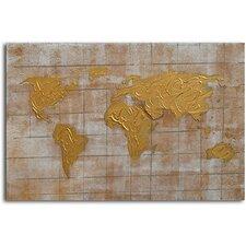 'Bronzed Pangea' Original Painting on Canvas
