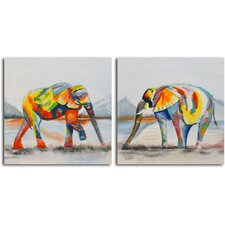 'Harlequin of the Herd' 2 Piece Original Painting on Wrapped Canvas Set