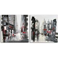 Two Sides of the Same City' 2 Piece Original Painting on Canvas Set
