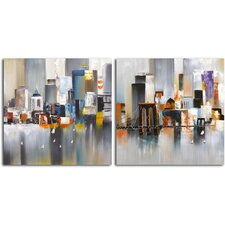 'Reflections on the Water' 2 Piece Original Painting on Canvas Set