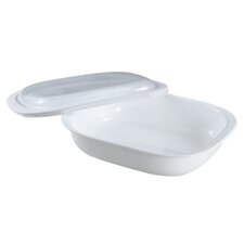 Bake, Serve and Store Rectangle Glass Roaster in White with Lid