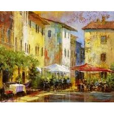 Courtyard Cafe by Michael Longo Painting Print on Wrapped Canvas