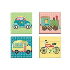 Getting There Bike by Sandy Doonan 4 Piece Graphic Art on Wrapped Canvas Set