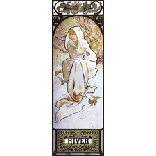 Hiver by Alphonse Mucha Painting Print on Wrapped Canvas