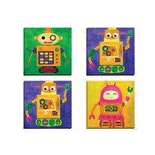 Robokix 1 by Sandy Doonan 4 Piece Painting Print on Wrapped Canvas Set