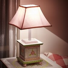 "Crackled Rose 21"" H Table Lamp with Bell Shade"