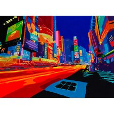 Vibrant City Graphic Art on Wrapped Canvas