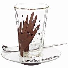 3-tlg. Latte Macchiato Glas -Set Bacione mit Untertasse und Löffel