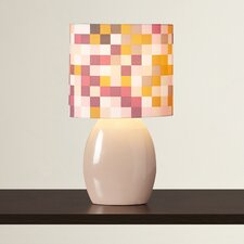 "Arlene Checkered 17"" H Table Lamp with Drum Shade"