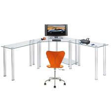 Faye Computer/Laptop Desk Corner Computer Desk with Right and Left Extension Tables