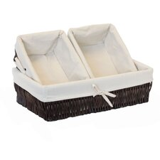 3 Piece Lined Willow Storage Basket Set