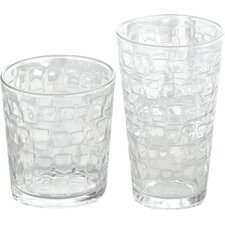 Great Foundations 16 Piece Square Glass Tumbler Set