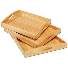 "Tablett rechteckig ""Classic"" aus Gummibaumholz in Natur"