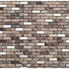 Muro 1.25'' x 12'' Metal Mosaic Tile in Brown and White