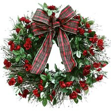 All-Weather Tartan Rose Wreath