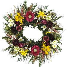"Gerbera Garden 22"" Silk Wreath"