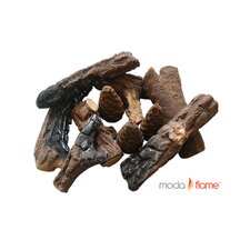 9 Piece Ceramic Fireplace Wood Log Set