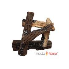 5 Piece Ceramic Fireplace Log Set