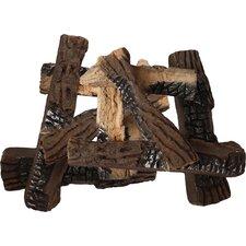 10 Piece Ceramic Fireplace Log Set