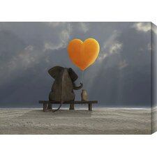 Elephant and Dog Graphic Art on Wrapped Canvas