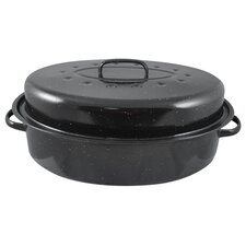 """19"""" Non-Stick Carbon Steel Roaster with Lid"""