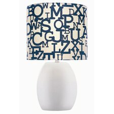 "Ceramic Lettered 17"" H Table Lamp with Drum Shade"