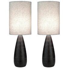 "Quatro 27.5"" H Table Lamp with Drum Shade (Set of 2)"