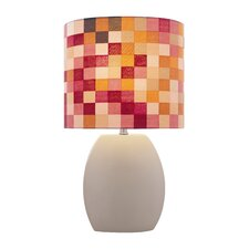 "Ceramic Checkered 17"" H Table Lamp with Drum Shade"