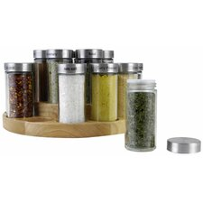 18 Piece Wooden Carousel Jar Spice Rack Set