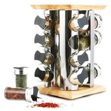16 Piece Rubber and Wood Spice Rack Set