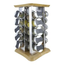 20 Piece Bamboo Jar Spice Rack Set