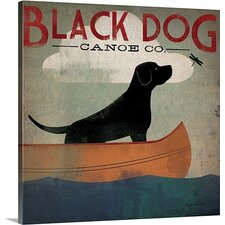 """""""Black Dog Canoe"""" by Ryan Fowler Gallery Graphic Art on Wrapped Canvas"""