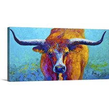 Wide Spread Texas Longhorn by Marion Rose Painting Print on Gallery Wrapped Canvas