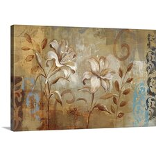 'Flowers on Silver I' by Silvia Vassileva Painting Print on Canvas