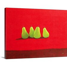 'Pears on Red Cloth' by Lincoln Seligman Painting Print on Canvas