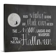 Halloween Art 'Chalkboard Halloween' by Amy Cummings Textual Art on Wrapped Canvas