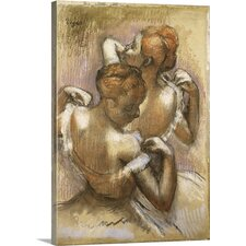 'Two Dancers of the Company Adjusting Their Shoulder Straps' by Edgar Degas Painting Print on Wrapped Canvas