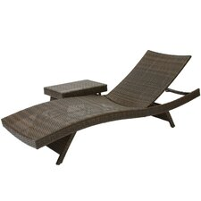 Franklin 2 Piece Adjustable Lounge  and Wicker Table Set
