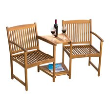 Eveley Acacia 3 Piece Adjoining Patio Chair Set
