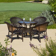 Andre 5 Piece Wicker Outdoor Dining Set